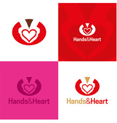hands and heart icon and logo vector image