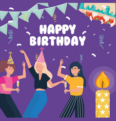 happy birthday women dancing with drink candle vector image
