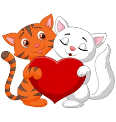Happy cat couple holding red heart vector image