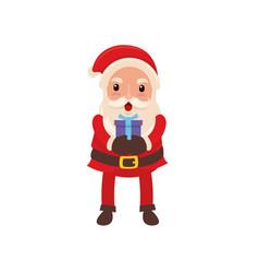 happy santa claus delivering small present for vector image