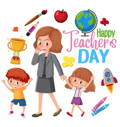happy teachers day logo with teacher and students vector image