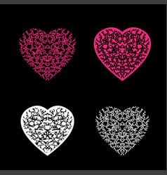Heart pattern set black background vector