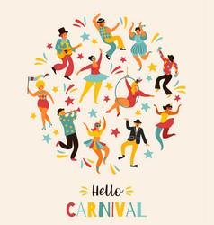 Hello carnival funny vector