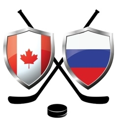 Hockey logo- canada vs russia vector