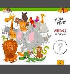 How many animals educational game vector
