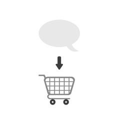 icon concept of speech bubble inside shopping cart vector image