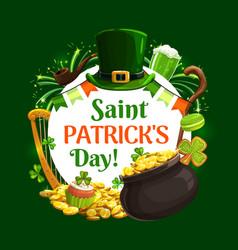 Irish holiday st patricks day symbols lettering vector