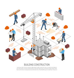 Isometric building construction flowchart vector