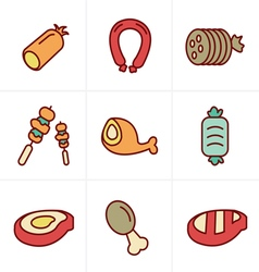 Line Icons Style black meat and sausage icon set o vector image