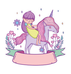 Little unicorn and princess with wreath flowers vector