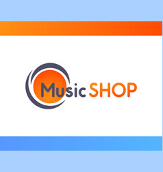 logo for music shop isolated on white background vector image