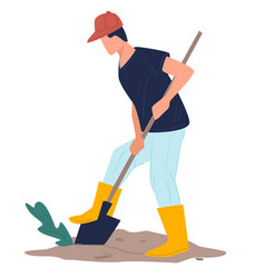 Male character digging holes in soil agriculture vector
