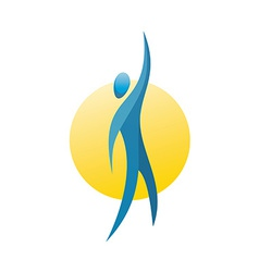 Man figure reach up for a top logo concept vector image