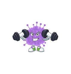 Mascot fitness coronavirus influenza up barbells vector