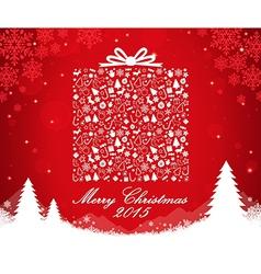 Merry Christmas gift box shape vector image