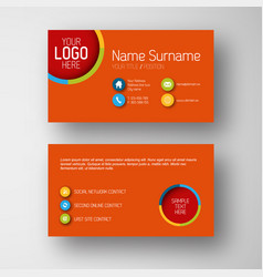 modern red business card template with flat user vector image