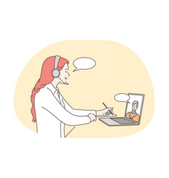 online meeting communication distant work vector image
