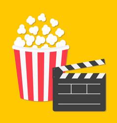popcorn big open clapper board pop corn cinema vector image