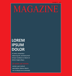 realistic magazine front page template vector image