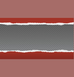 Realistic red torn open paper with space for text vector