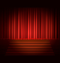 Red curtain with a spotlight and stair vector