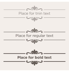 Retro text dividers set Vintage border elements vector