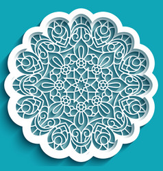 Round lace doily with line pattern vector