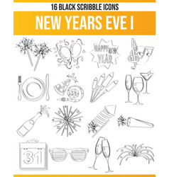 Scribble black icon set new years eve i vector