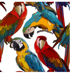 Seamless background with ara parrots vector