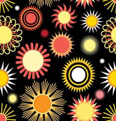 Seamless bright graphic pattern of different sun vector
