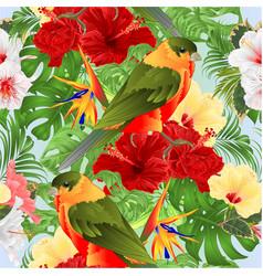 seamless texture tropical bird and hibiscus vector image