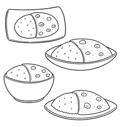 set of curry rice vector image