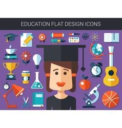 Set of modern education flat design icons vector