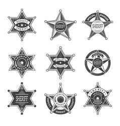 Sheriff stars badges western star texas vector