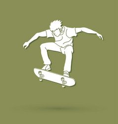 Skateboarder jumping extreme sport graphic vector