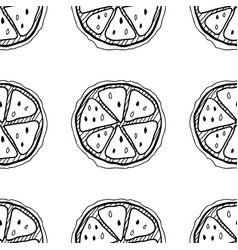 Slices of lemons seamless pattern with hand drawn vector