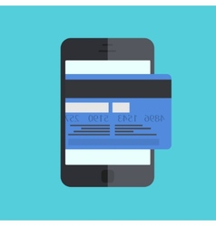 smartphone with mobile payment on blue vector image