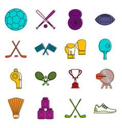 Sport equipment icons doodle set vector