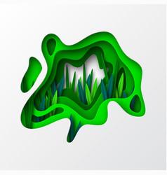 springtime floral concept in 3d paper cut style vector image