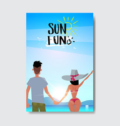 summer love man woman couple holding hands looking vector image