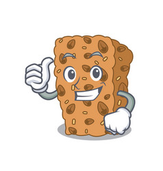 Thumbs up granola bar character cartoon vector
