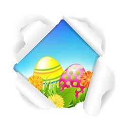 Torn Paper With Flowers And Color Eggs vector