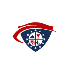 Travel shield logo design template vector