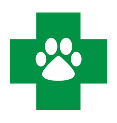 veterinary care icon green cross with white paw vector image