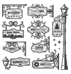 Vintage street lanterns labels set vector