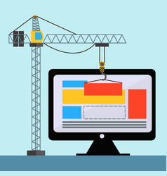 web design with crane lifting building blocks on vector image