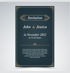 wedding announcement with old frames in blue vector image