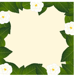 White camellia flower frame border vector