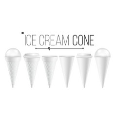 white ice cream cone mock up set for ice vector image