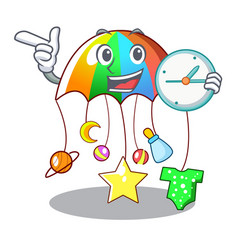 With clock cartoon hanging toys with baby carousel vector
